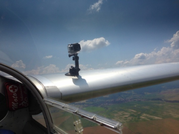 GoPro mounted on a plane's wing