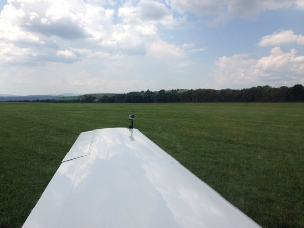GoPro mounted on a wing of a light aircraft