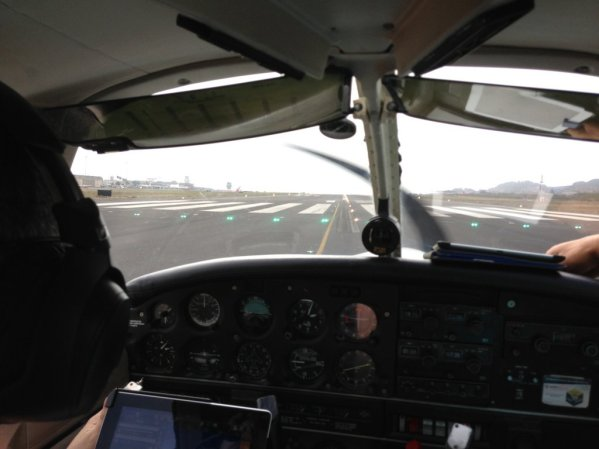 Lining up on runway 12 at Tenerife North Airport