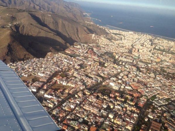 Descending over capital city Santa Cruz de Tenerife.