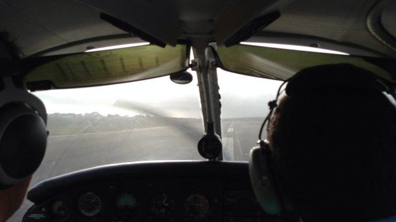 Landing on the runway 30.