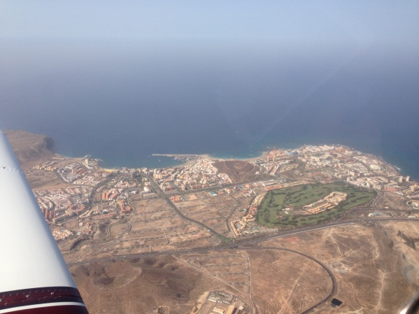 Cruising at 4.500 feet with views over Playa de las Américas