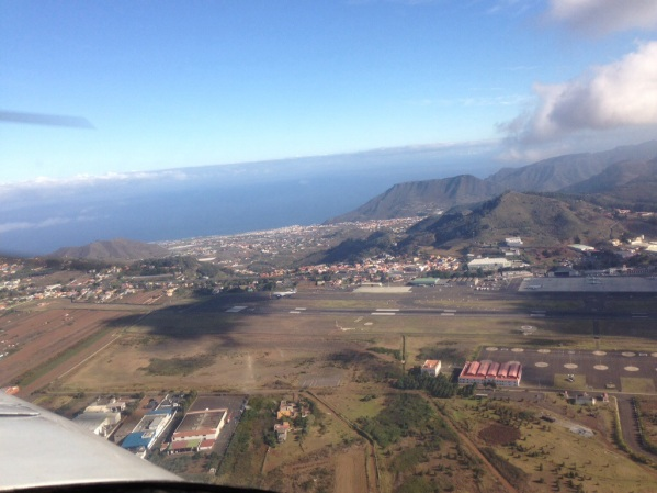 On the right downwind for RWY 12 at Tenerife North Airport