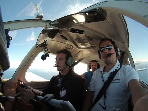 Our flight back, Oliver at controls