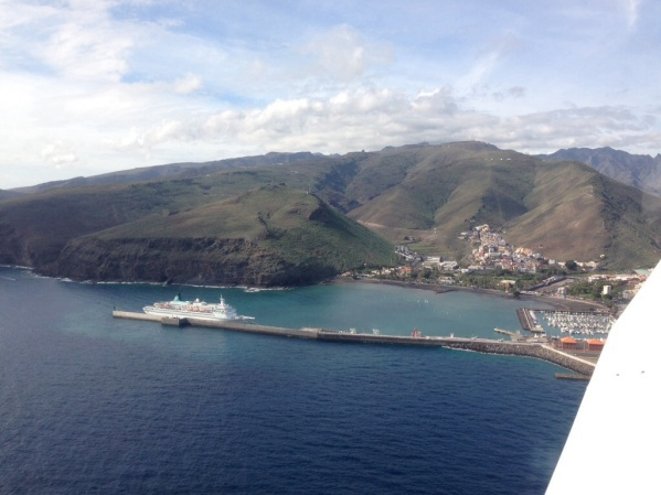Harbour at La Gomera and Naviera Armas ship