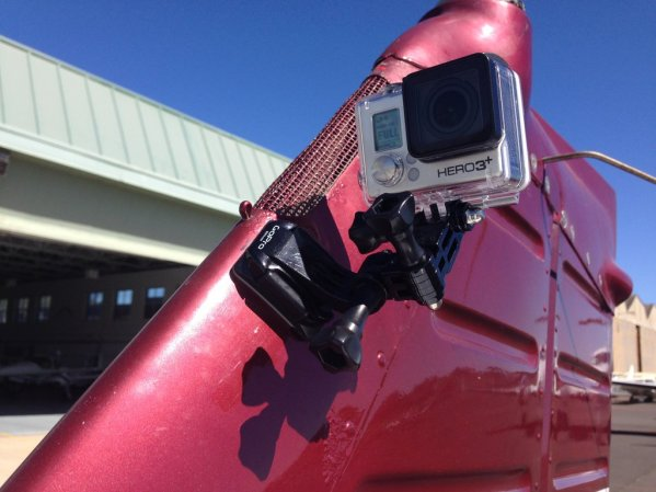 Gopro mounted on the vertica stab of Piper P-28A Archer