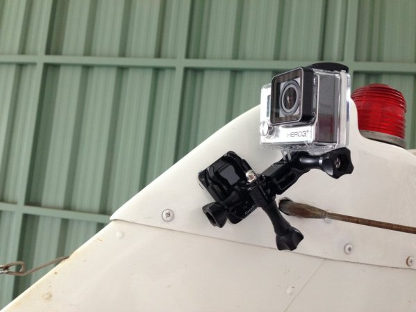 Gopro mount on the tail of Cessna 172