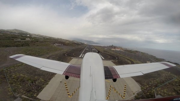 Seconds before landing at La Palma