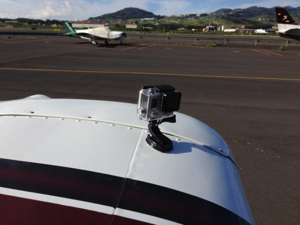 GoPro mounted on the wingtip