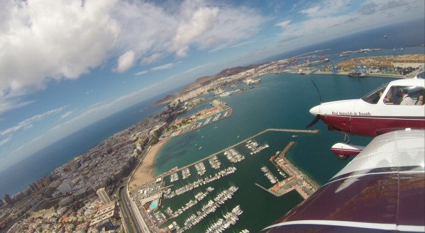 Over Las Palmas harbour