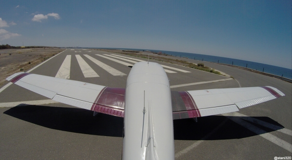 Entering runway 07 at El Berriel (GCLB) for departure