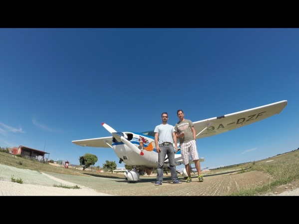 With my brother in law after the flight