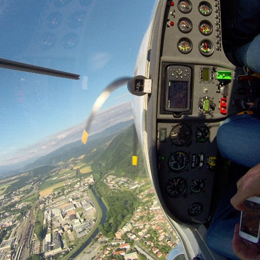 Steep turn over Banska Bystrica