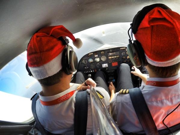 Santa Claus at the controls...