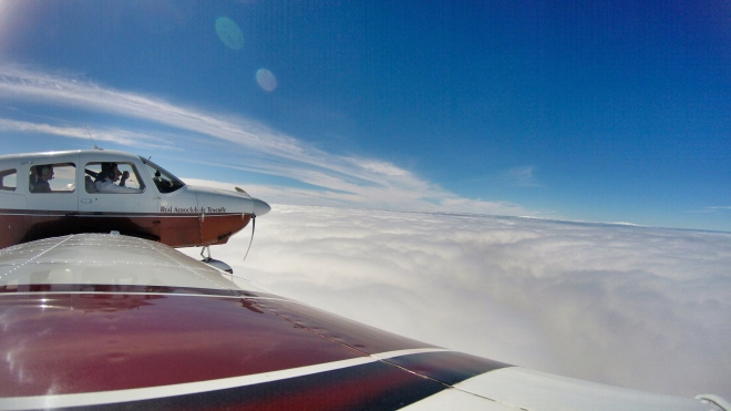 Over the sea of clouds at 8.500 feet
