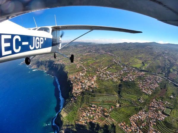 Flying along the north coast of Tenerife