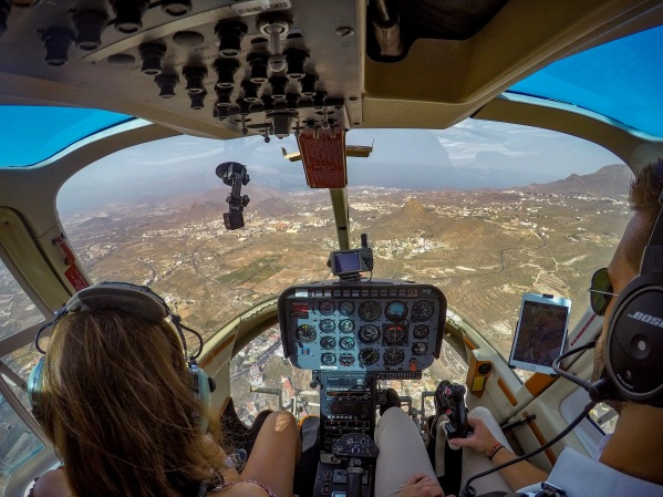 Pilot's views from the helicopter