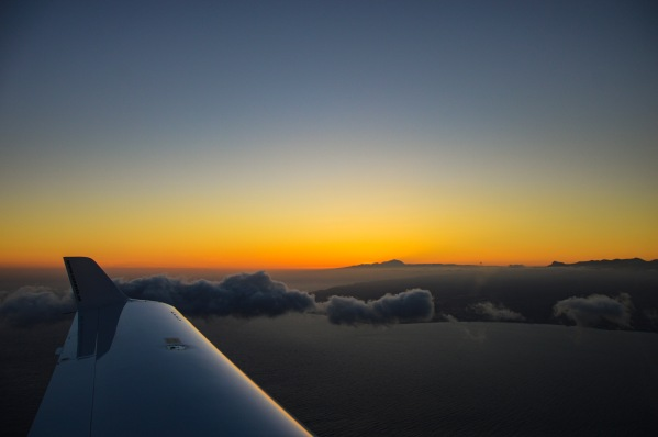Reaching Gran Canaria at sunset