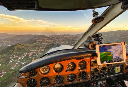 Approaching Tenerife North Airport at dusk